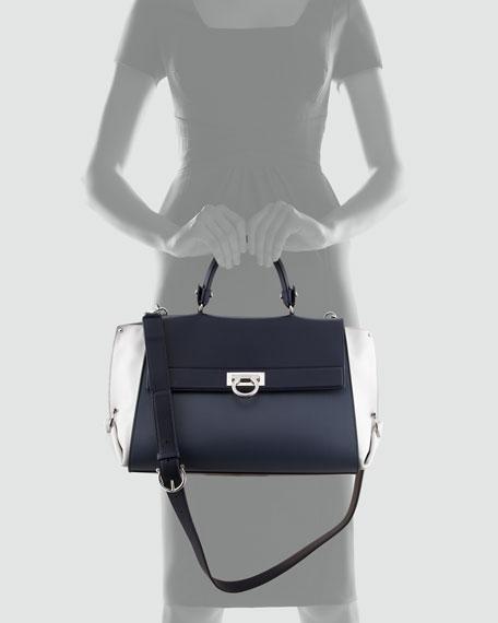 Sofia Leather Satchel Bag, Blue/Gray