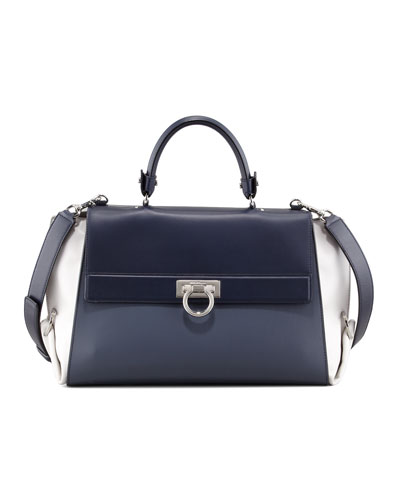 Salvatore Ferragamo Sofia Leather Satchel Bag, Blue/Gray