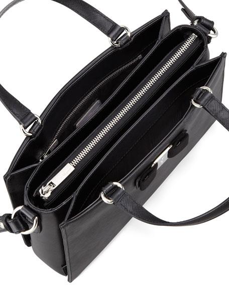 Tracy Saffiano Tote Bag with Vara Bow, Black