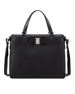 Salvatore Ferragamo Tracy Saffiano Tote Bag with Vara Bow, Black