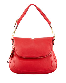 Tom Ford Jennifer Calfskin Shoulder Bag, Flame Red