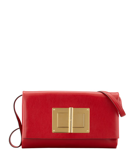 Natalia Soft Turn-Lock Clutch Bag, Red