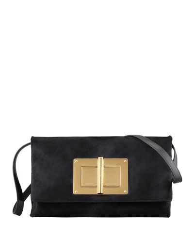 Tom Ford Natalia Soft Calf Hair Turn-Lock Clutch Bag, Black