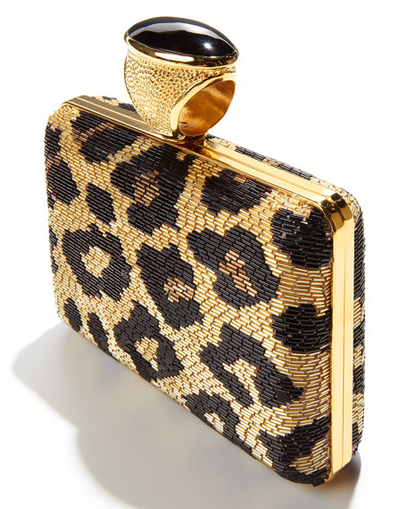 Leopard Beaded Ring Clutch