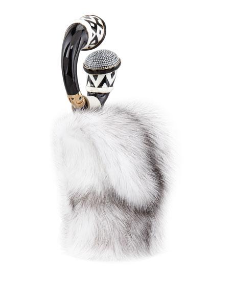 Mink Fur Bracelet Bag, Chalk
