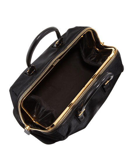 Calf Hair Buckle Satchel Bag, Black