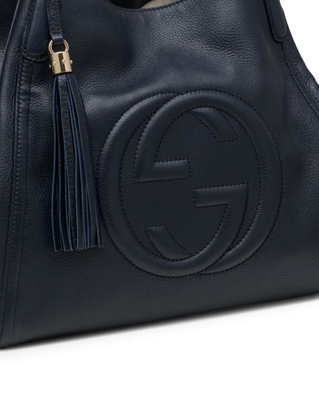 Soho Leather Shoulder Bag, Dark Blue