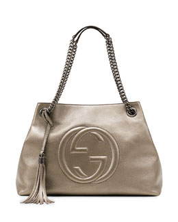 Gucci Soho Metallic Leather Shoulder Bag, Gunmetal