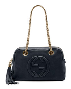 Gucci Soho Leather Double Chain Strap Shoulder Bag, Dark Blue by Gucci