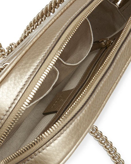 Soho Metallic Leather Shoulder Bag, Champagne