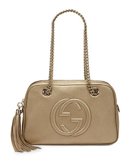 Gucci Soho Metallic Leather Shoulder Bag, Champagne