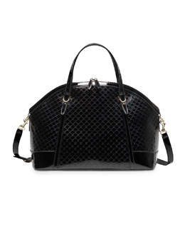 Gucci Gucci Nice Large Microguccissima Patent Leather Top Handle Bag, Black