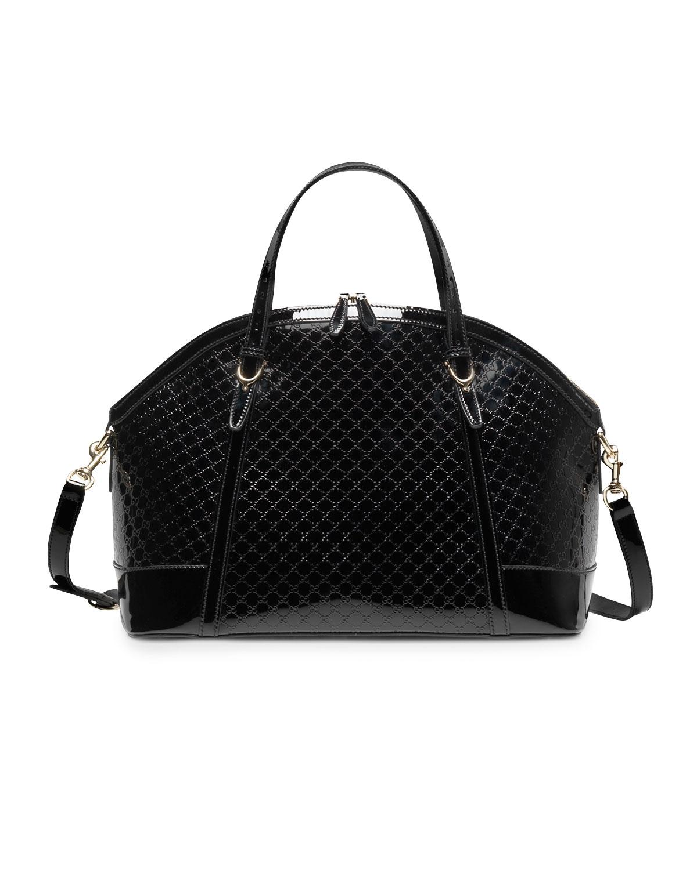 324f912de1f7 Gucci Gucci Nice Large Microguccissima Patent Leather Top Handle Bag, Black