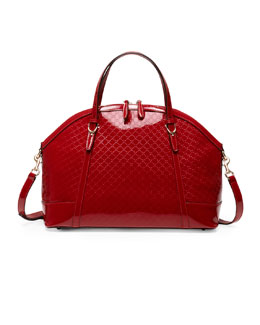 Gucci Gucci Nice Large Microguccissima Patent Leather Top Handle Bag, Red