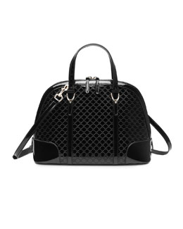 Gucci Gucci Nice Microguccissima Patent Leather Top Handle Bag, Black