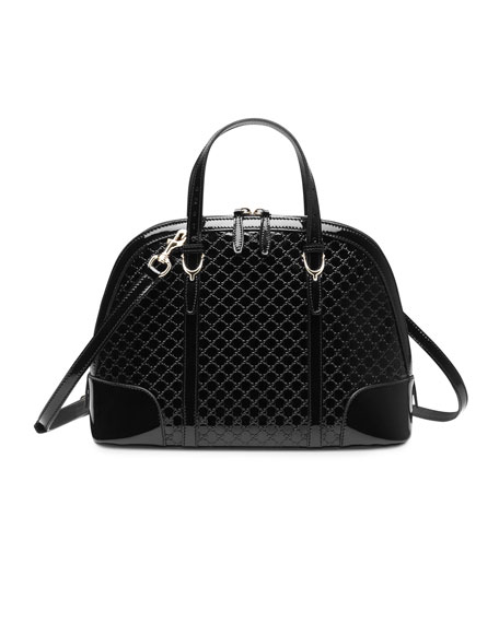 Gucci Nice Microguccissima Patent Leather Top Handle Bag, Black