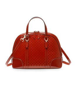 Gucci Gucci Nice Microguccissima Patent Leather Top Handle Bag, Red