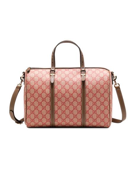 Gucci Nice GG Supreme Canvas Boston Bag, Red/Brown