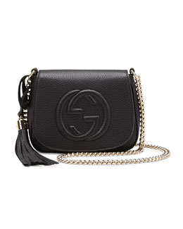 Gucci Soho Leather Chain Crossbody Bag, Black