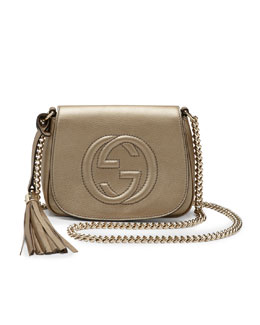Gucci Soho Metallic Leather Chain Crossbody Bag, Champagne