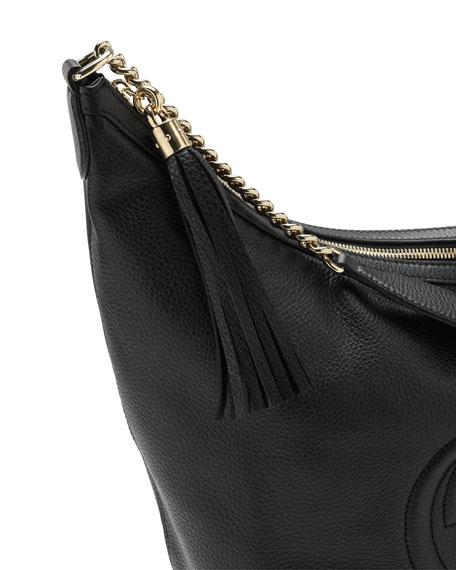 Soho Leather Chain Shoulder Bag, Black