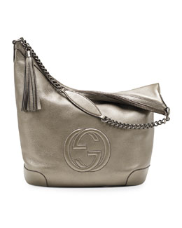 Gucci Soho Metallic Leather Chain Shoulder Bag, Gunmetal