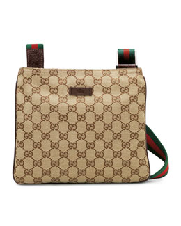 Gucci Original GG Canvas Messenger Bag with Signature Web Strap, Brown