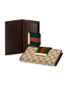 Gucci Ladies Web Metal Bar Continental Wallet, Brown