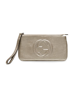 Gucci Soho Metallic Leather Wristlet, Gunmetal