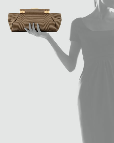 Trilogy Satin Clutch Bag, Dark Khaki