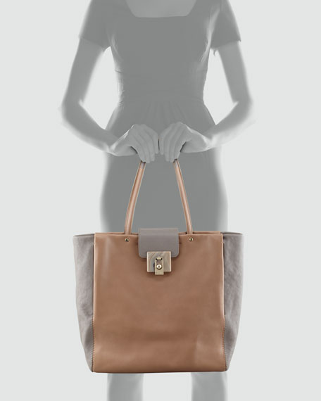 For Me Two-Tone Shopping Tote Bag, Cream/Gray