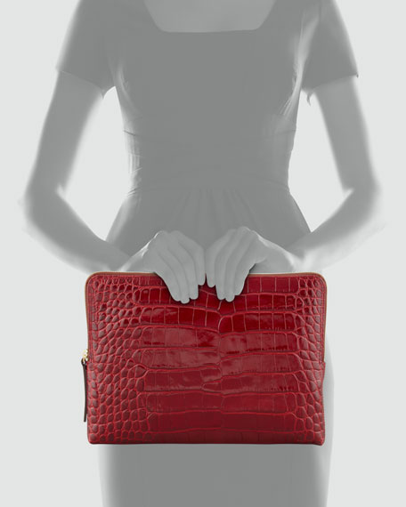 Large Croc-Embossed Zipped Clutch Bag, Red