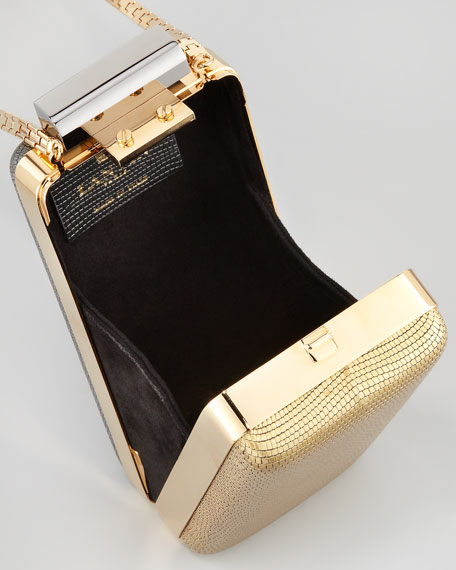 Vertical Metallic Minaudiere, Gold
