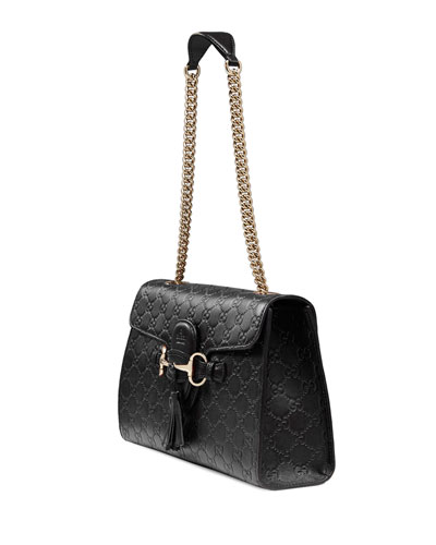 Emily Metallic Guccissima Leather Chain Shoulder Bag 26
