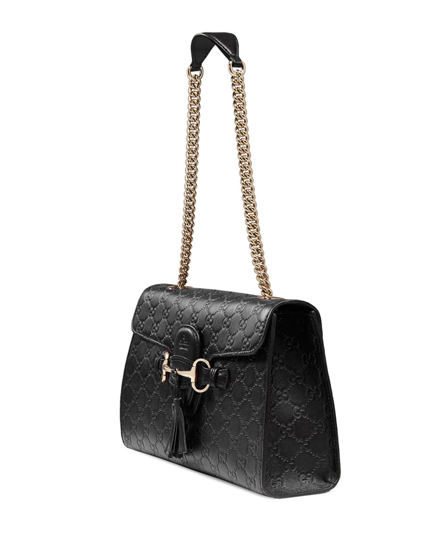 2fcdd6d29193 Gucci Emily Guccissima Leather Chain Shoulder Bag, Black   Neiman Marcus
