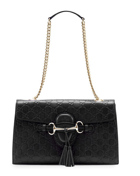 Emily Guccissima Leather Chain Shoulder Bag, Black