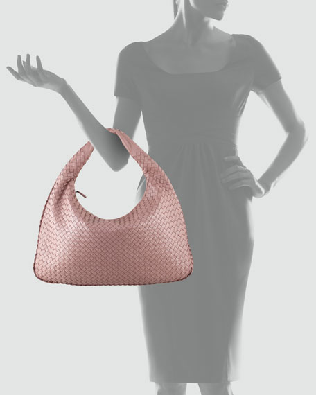 Intrecciato Woven Large Hobo Bag, Mauve