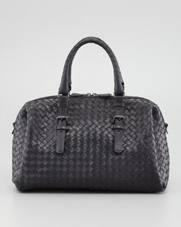 Bottega Veneta New Boston Medium Top-Handle Bag, Black