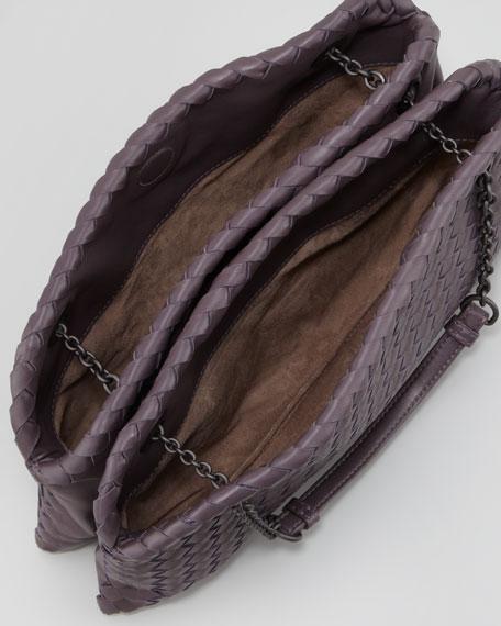 Intrecciato Duo-Compartment Shoulder Bag, Purple