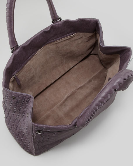 Medium Woven-Trim Tote Bag, Purple