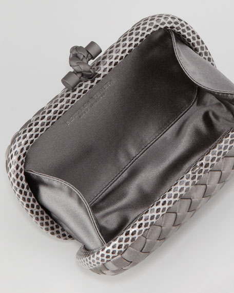 Woven Satin Knot Minaudiere, Charcoal