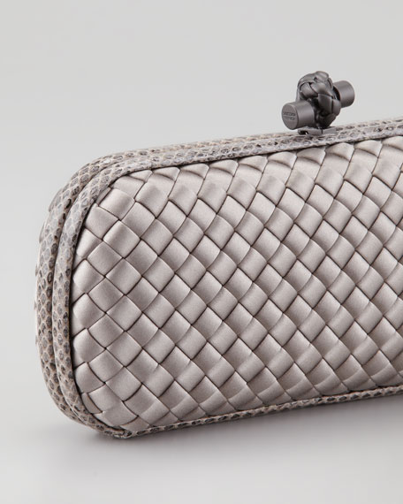 Snake-Trimmed Small Knot Clutch, Gray
