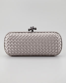 Bottega Veneta Snake-Trimmed Small Knot Clutch, Gray