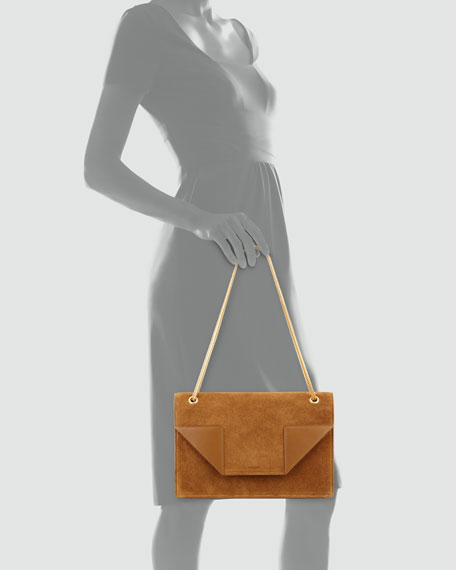Betty 2 Medium Suede Chain Shoulder Bag, Tan