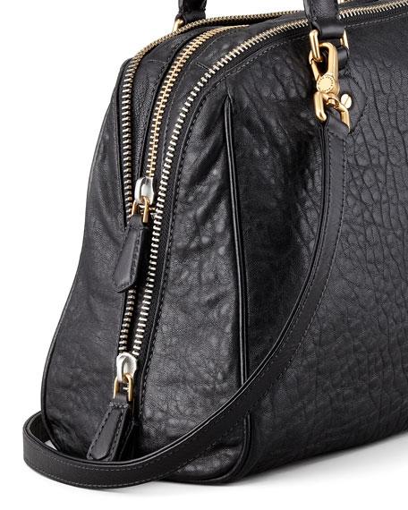 Washed Up Lauren Leather Satchel Bag, Black