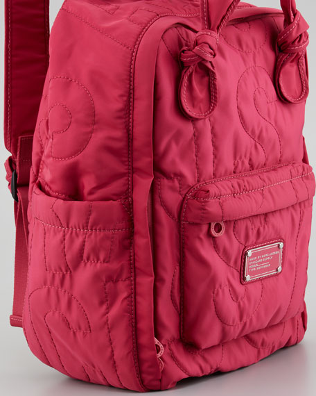 Pretty Nylon Quilted Backpack, Rose