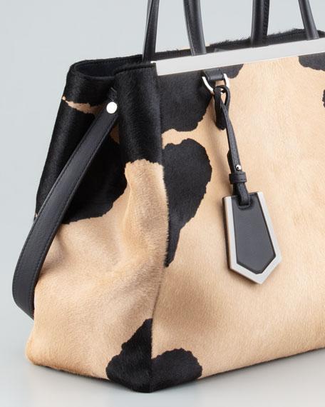 2Jours Calf Hair Tote Bag, Black/Beige