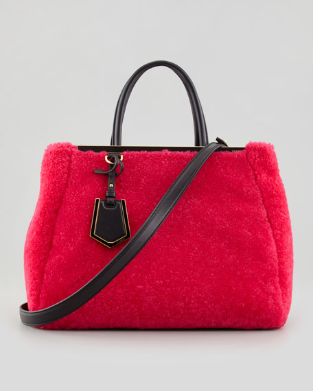 2Jours Medium Shearling Fur Tote Bag, Pink/Black