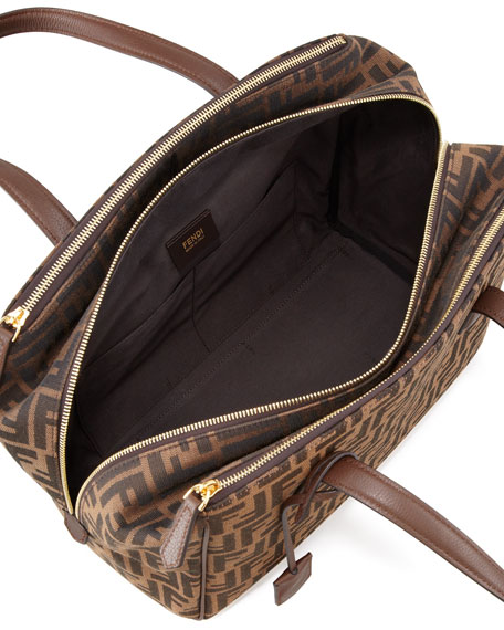 Zucca Triple-Zip Baulotto Bag, Brown