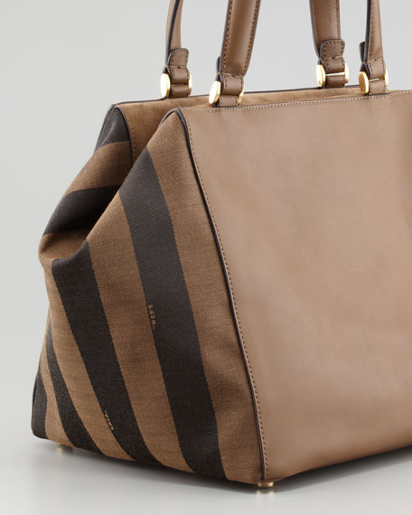 Pequin-Striped Medium Satchel Bag, Brown